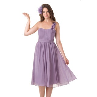Bari Jay Lilac One Shoulder Empire Waist Flower Dress