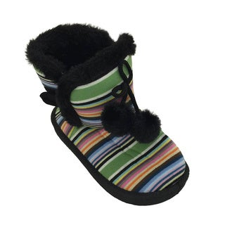 Toddler Girls' Striped Fur Boots with Pom Poms