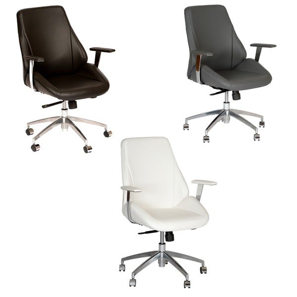 Armen Living Argo Contemporary Black Leatherette and Chrome High Back Swivel Office Chair 16298696