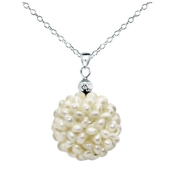 DaVonna Sterling Silver White Snowball Freshwater Pearl Pendant (18-19mm)