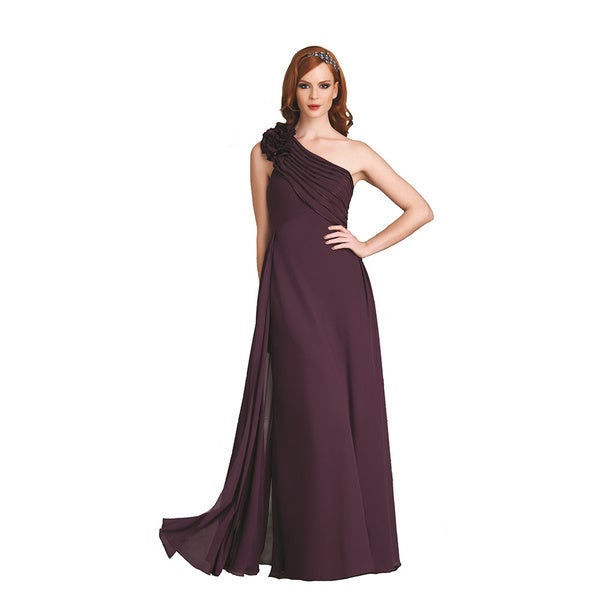 Bari Jay Eggplant One Shoulder Flower Chiffon Gown