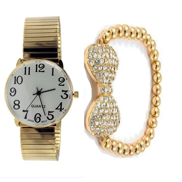 Gold Stretch Band Watch and Bracelet Set