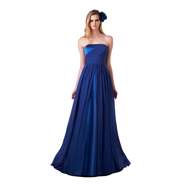 Bari Jay Strapless Royal Blue Chiffon Shirred Dress