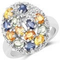 Olivia Leone Sterling Silver 3 1/5ct Multi Sapphire and White Topaz Ring