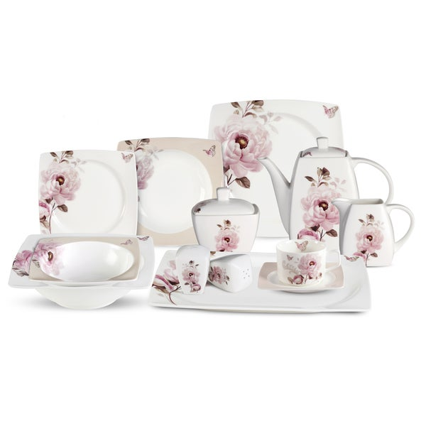 Lorren Home Trends 57-piece Sophie Bone China Dinnerware Set (Service for 8)