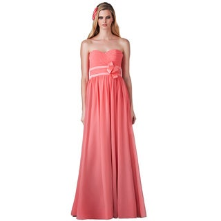 Bari Jay Strapless Sweetheart Shirred Waist Evening Gown
