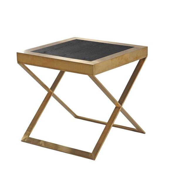 Armen Living Jasper Modern End Table In Gold With Black