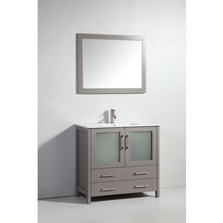 "36"" LIGHT GREY SOLID WOOD SINK VANITY WITH MIRROR-NO FAUCET"