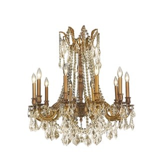 """Italian Elegance Collection 10 light French Gold Finish and Golden Teak Crystal Ornate Chandelier 28"""" x 31"""""""