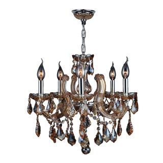 """Maria Theresa Collection 5 Light Chrome Finish and Amber Crystal Chandelier 18"""" x 18"""""""