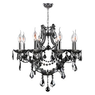 """Maria Theresa Collection 8 Light Chrome Finish and Smoke Crystal Chandelier 26"""" x 22"""""""