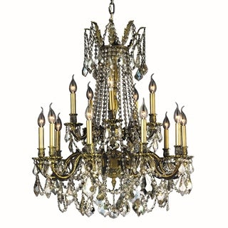 """Italian Elegance Collection 15 Light Antique Bronze Finish and Golden Teak Crystal Ornate Chandelier 28"""" x 36 Two 2 Tier"""