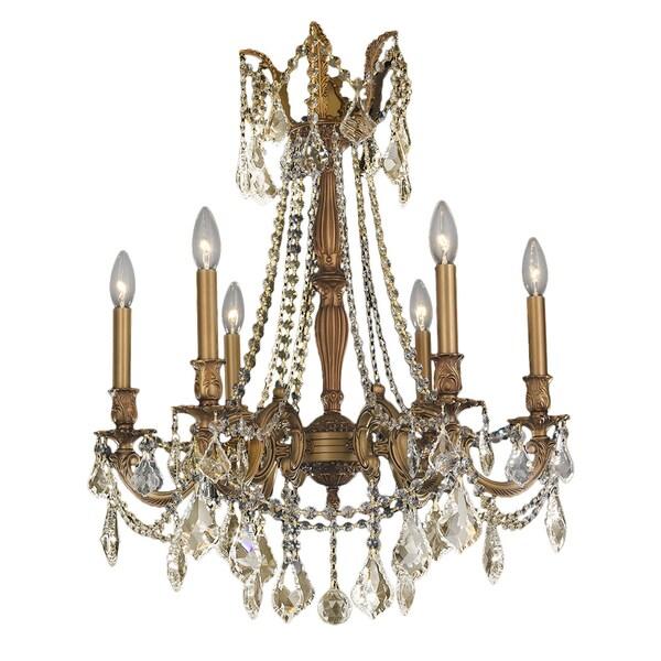 Italian Elegance 6 Light French Gold Crystal Ornate Chandelier Golden Teak