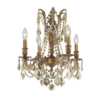 """Italian Elegance Collection 4 Light French Gold Finish and Golden Teak Crystal Ornate Chandelier 17"""" x 21"""""""