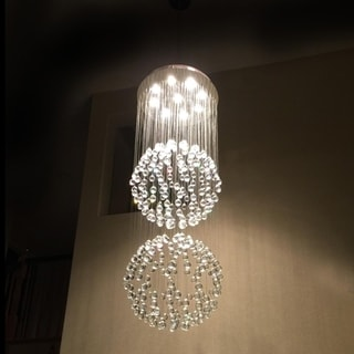 """Modern Contemporary 9 Light Chrome Finish Full Lead Crystal Galaxy Sphere Double Ball Chandelier 24"""" x 72"""""""