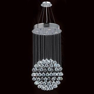 "Modern Contemporary 5 light Chrome Finish Full Lead Crystal Galaxy Sphere Ball Chandelier 16"" x 32"""