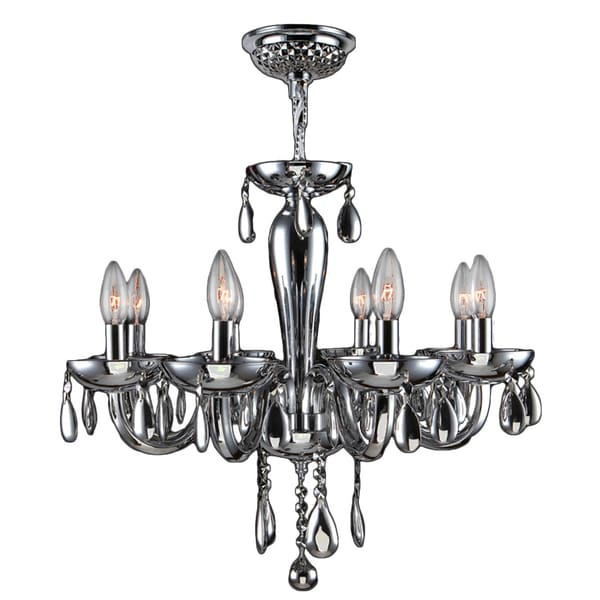 "Eur Style Collection 8 Light Blown Glass in Chrome Finish Chandelier 22"" x 19"""