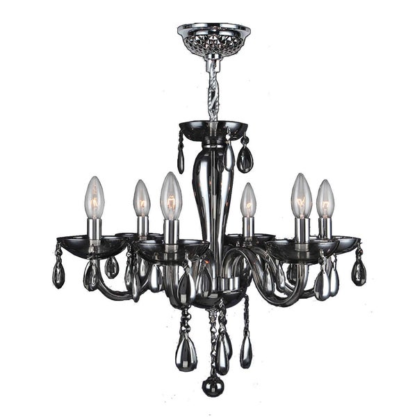 "Euro Style Collection 6 Light Blown Glass in Smoke Finish Chandelier 22"" x 19"""