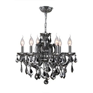 """Maria Theresa Collection 6 Light Chrome Finish and Smoke Crystal Chandelier 20"""" x 20"""""""