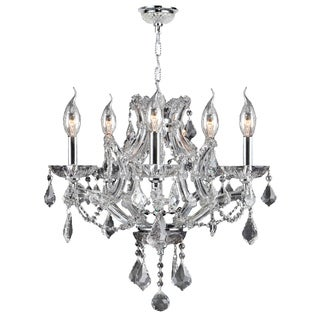 """Maria Theresa Collection 5 Light Chrome Finish and Clear Crystal Chandelier 19"""" x 18"""""""