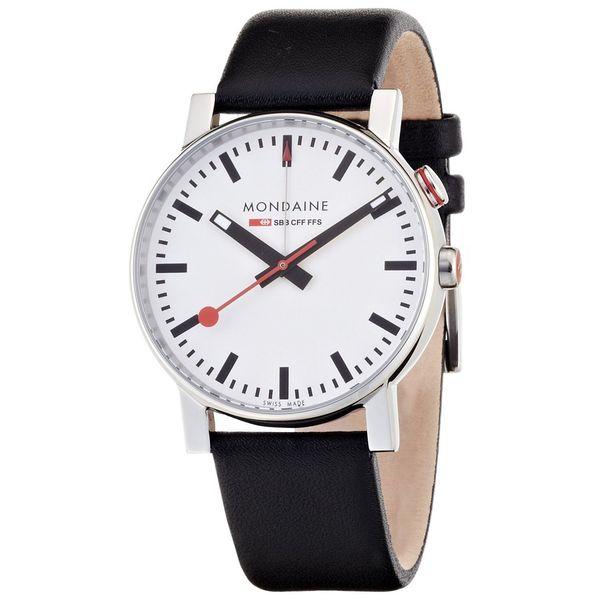 Mondaine Men's Evo Alarm Analog Black Leather Watch 4683035211SBB