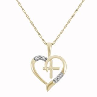 "10K Yellow Gold, 0.03 cttw Diamond Cross-Heart Necklace - 9'6"" x 13'6"""