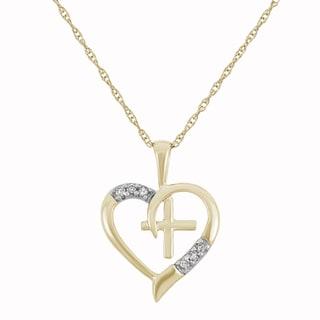 10K Yellow Gold, 0.03 cttw Diamond Cross-Heart Necklace (H-I, I1-I2)