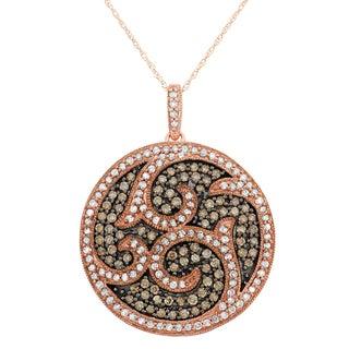 10K Rose Gold, 1.5 Cttw Diamond Circle Pendant Medallian (H-I, I1-I2)