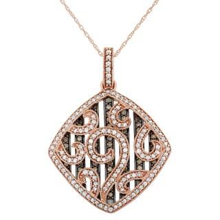 10K Rose Gold, 1.25 Cttw White and Brown Diamond Square Pendant Medallian (H-I, I1-I2)