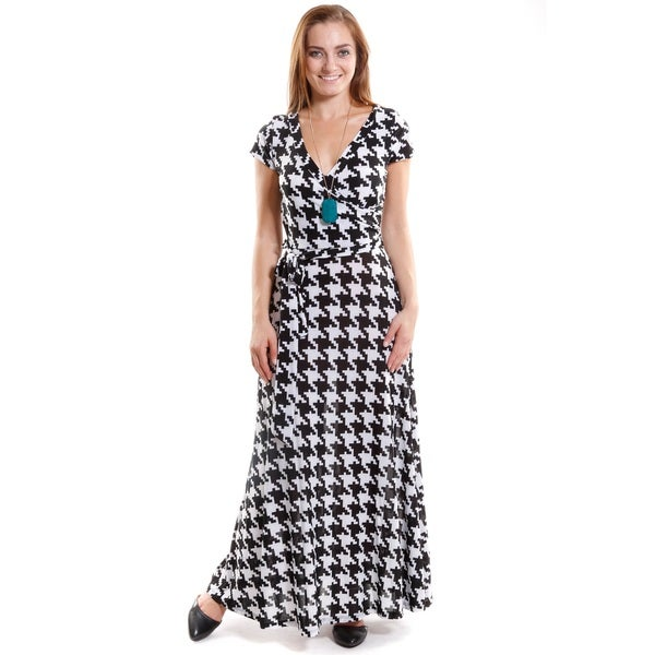 Hadari Women's Short Sleeve V-Neck Maxi Dress with Tie at Waist