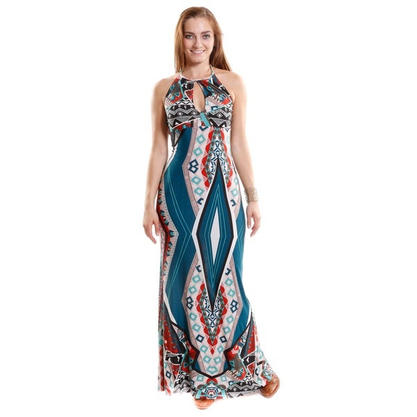 Hadari Women's Contemporary Printed Halter Top Dress with front Keyhole