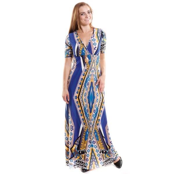 Hadari Women's Short Sleeve V-Neck Maxi Dress