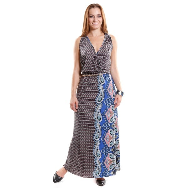 Hadari Women's Printed Racer Back Dress