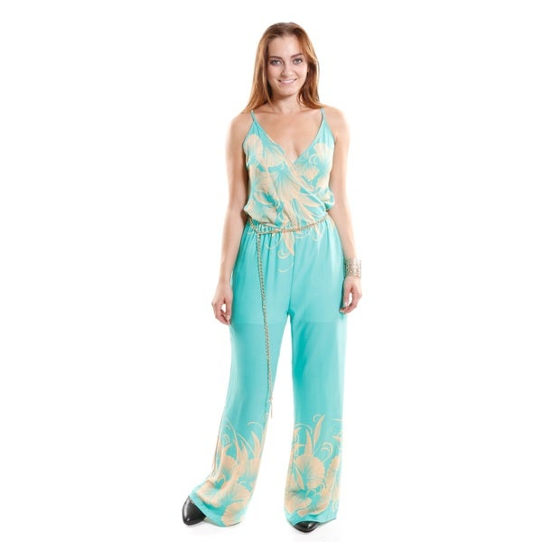 Hadari Women's Contemporary Belted Print V-Neck Jumpsuit