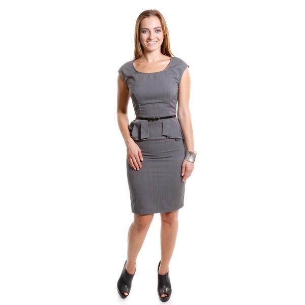 Hadari Women's Contemporary Peplum Belted Dress
