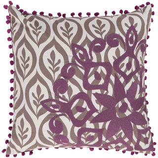 KD Spain Decorative Justin Floral Feather/ Down or Polyester Filled 20-inch Pillow