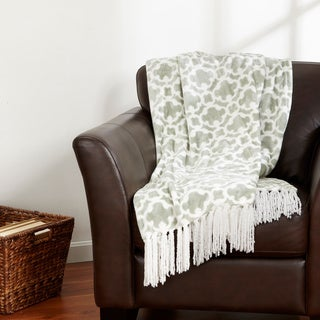 Home Fashion Designs Keller Collection Ultra Velvet Plush Printed Fringe Luxury Throw Blanket