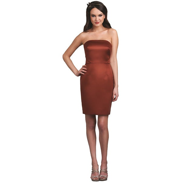 Bari Jay Strapless Satin Nutmeg Short Dress