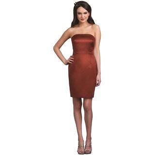 Bari Jay Strapless Satin Nutmeg Short Dress