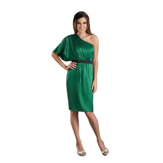 Bari Jay One Shoulder Green Charmeuse Short Sleeve Dress
