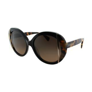 Emilio Pucci Women's EP 742S 001 Ebony And Tortoise Round Plastic Sunglasses