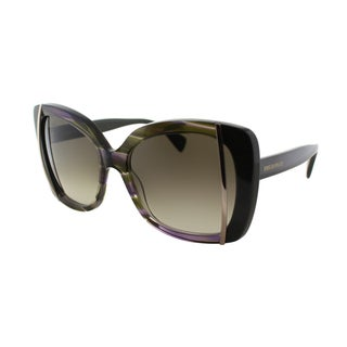 Emilio Pucci Women's EP 741S 306 Striped Olive Plastic Butterfly Sunglasses