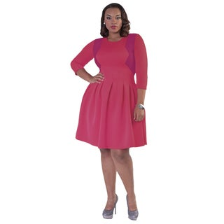 Kayla Collection Women's Pleated Baby Doll Dress