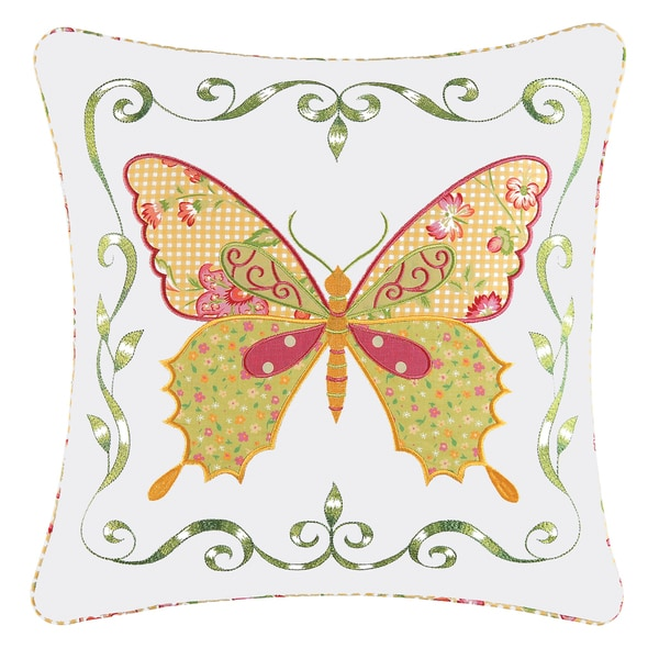 Pink Butterfly Applique Pillow