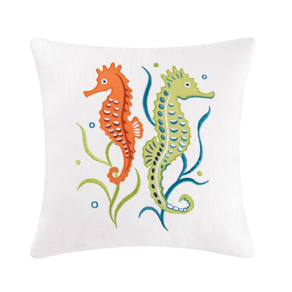 Twin Seahorses Embroidered Pillow
