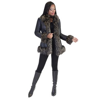 Tally Taylor Womens Shearling Faux Fur Coat Olive, Black