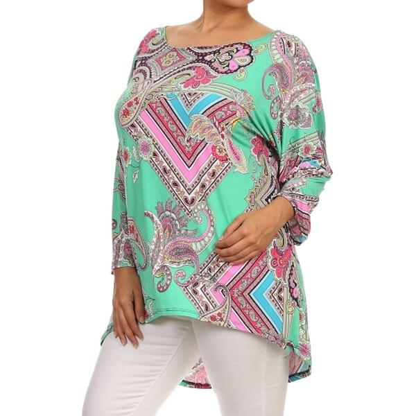 Women's Plus Size Paisley Aztec Print Tunic