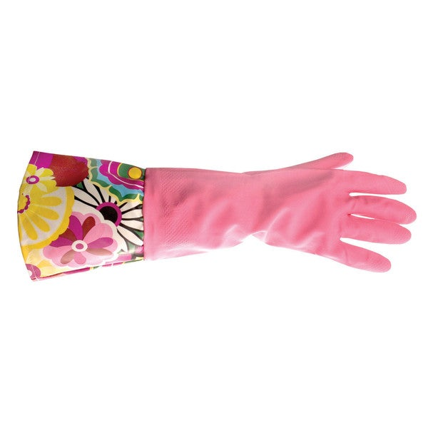 Pink latex glove w multi-colored sleeve