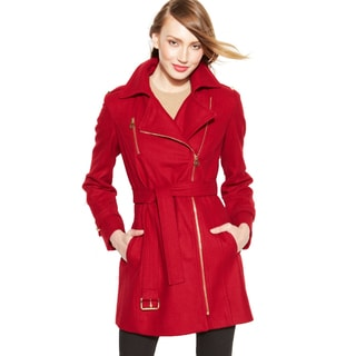 Michael Michael Kors Red Belted Asymmetrical Wool Walker Coat