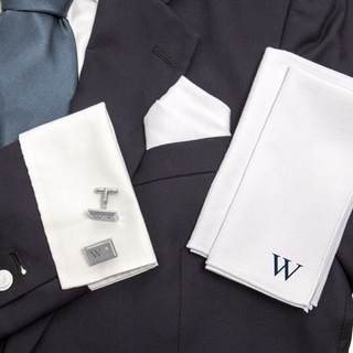 Personalized White Gingham Handkercheif Set with Zircon Jewel Cuff Links